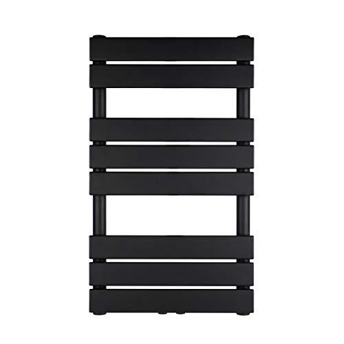 VILSTEIN Bad Heizkörper, Horizontal, Schwarz, Seitenanschluss und Mittelanschluss, 800x500 mm