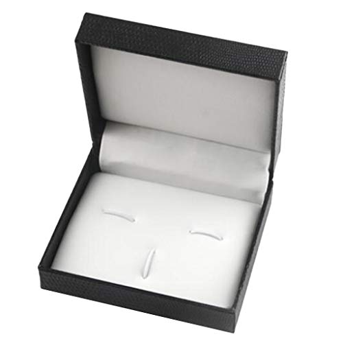 Hellery PU Leder Interieur Retro Manschettenknöpfe Neck Tie Clasp Holder Fall 7x8x3cm Mini - Manschettenknöpfe Krawattenklammer Set Box