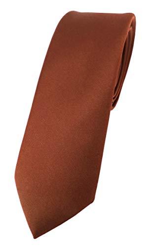 TigerTie schmale Satin Krawatte in braun rot rotbraun einfarbig uni