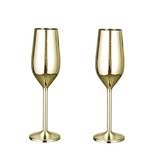 GODPAJ - Juego de 2 copas de champán de acero inoxidable, copa champán, vajilla de fiesta, herramienta de cocina, cobre, dorado