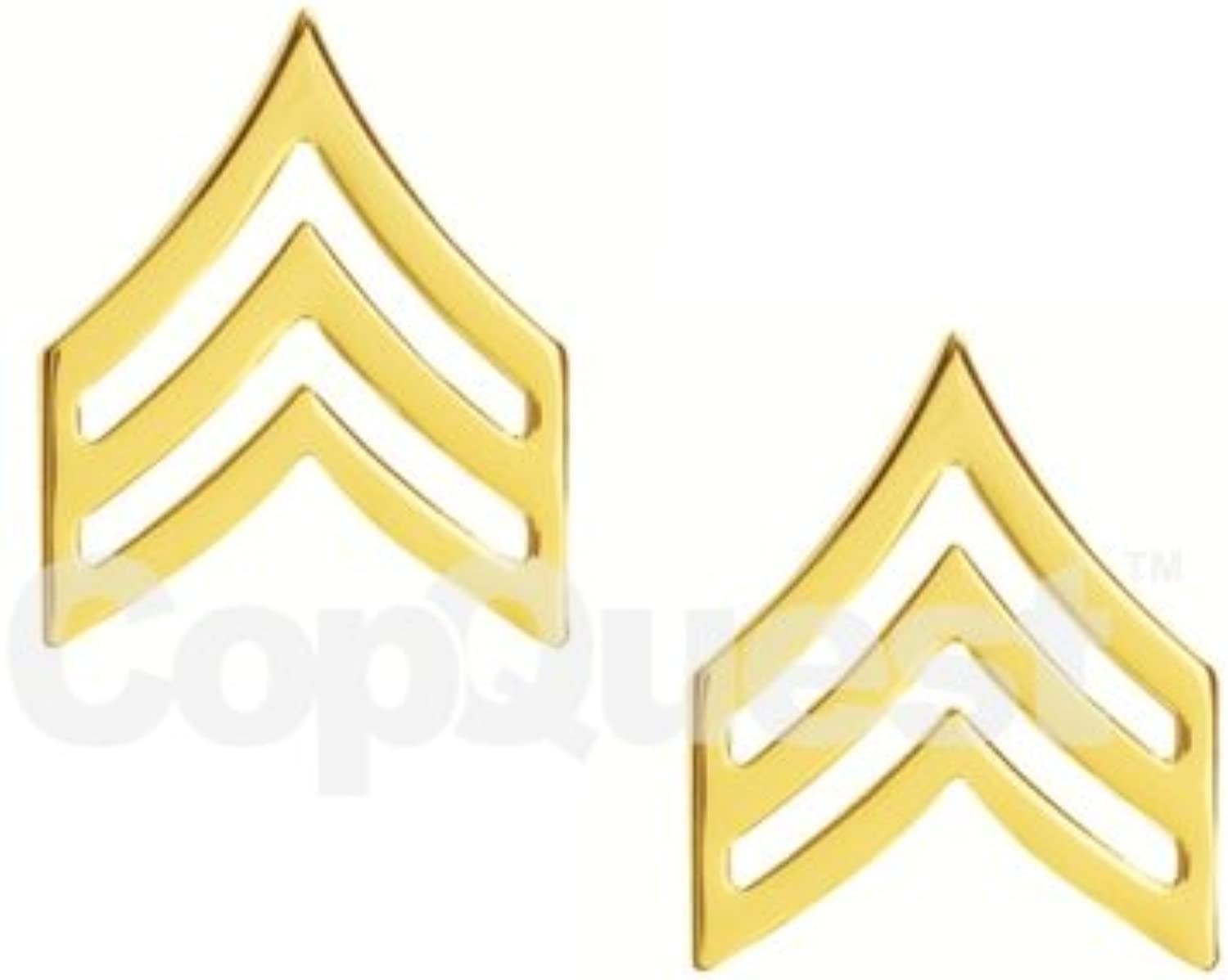 Rank InsigniaChevrons3 4-inchSergeant3 StripePairgold Finish