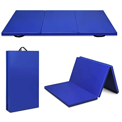 Giantex 6' x 4' Tri-Fold Gymnastics Mat Thick Folding Panel For Gym Fitness Exercise (Blue)