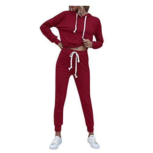 YANFANG Conjunto de Ropa Deportiva Moda para Mujer Tiempo Libre O-Cuello Talla Grande Suéter Traje de Manga Larga con cordón 1 Sudadera+1 Pantalones
