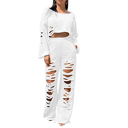 2 Piece Sweatsuits Outfits for Women Sexy - Long Sleeve Ripped Crop Top Sweatshirt Wide Leg Pants Set Tracksuits with Pocketst White 2XL