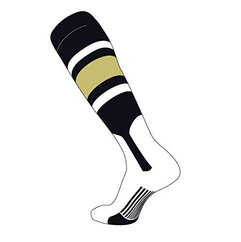 TCK Elite Baseball Knee High Stirrup Socks (E, 7in) Black, White, Vegas Gold (XL)