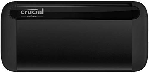 Crucial CT2000X8SSD9 X8 2To Portable SSD – Vitesses atteignant 1050Mo/s – USB 3.2 – Lecteur d'état solide externe, USB-C, USB-A