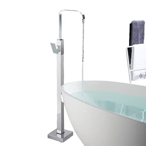 HYRGLIZI Freestanding Bathtub Faucet Baño Bañera Bañera Mezclador Tapón Sola Manija 360 Rotación con Toque de Ducha de baño montado en el Suelo