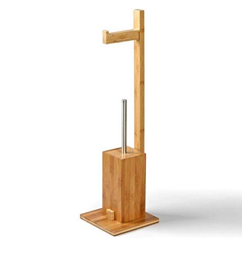 MSV 140632 WC Garnitur aus Bambus Toilettenpapierhalter aus Holz mit separatem Kunststoffbehälter