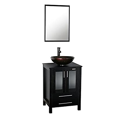 """eclife New 24"""" Wood Bathroom Vanity Cabinet Solid Glass Sink Bowl Modern Contemporary Design 1.5 GPM ORB Faucet and Pop Up Drain (A09B02)"""
