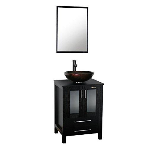eclife 24'' Black Bathroom Vanity and Sink Combo , Round Sink (Brown)