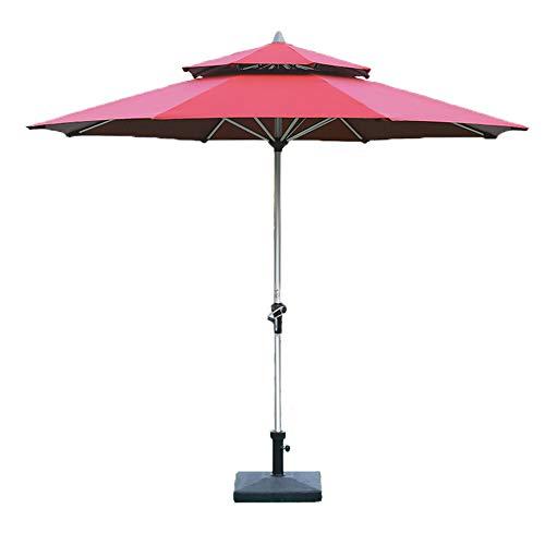 Outdoor umbrella Regenschirm im Freien Sonnenschirm Gartenschirm Tischschirm Doppelverdeck faltbar mit Kurbel