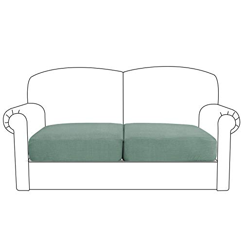 BellaHills Sofa Sitzkissenbezug Stretch Stuhl Schonbezug Spandex Elastic Couch Kissenbezüge Möbelschutz für Sofa Sitzkissen(2 Sitzer Kissen, Salbei