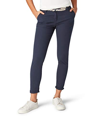 TOM TAILOR Damen Hosen & Chino Chino Slim mit Gürtel Sky Captain Blue,38/30