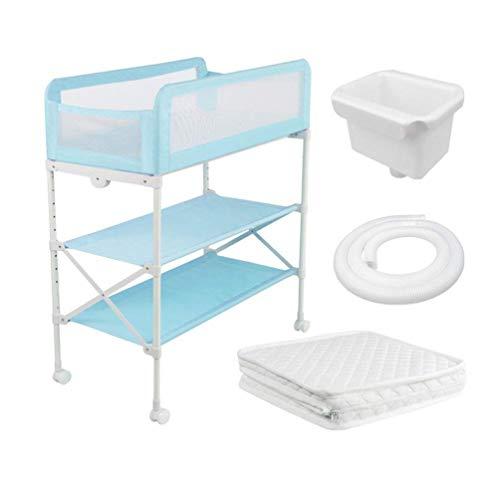WYNZYYX Roller Baby Windeltisch Mit Wanne, Neugeborenen Wickeltisch Station Multifunktionale Babymassage Baden Aufbewahrung Pflegetisch (Color : Blue)