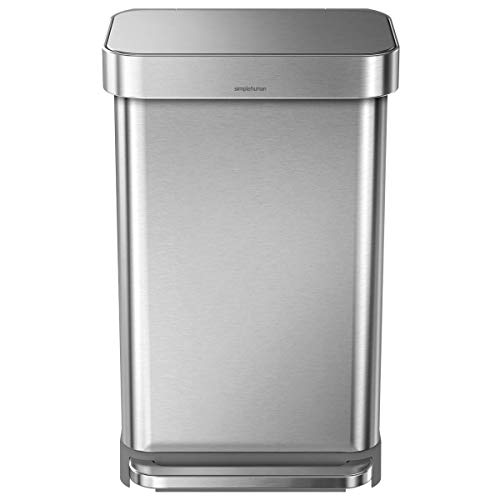 simplehuman 45 Liter / 12 Gallon Rectangular Kitchen Step Soft-Close Lid & Liner Pocket, Brushed Stainless Steel Trash Can