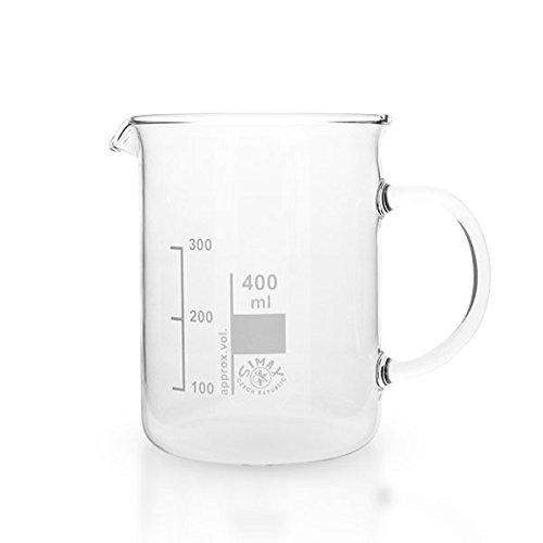 1 x 400ml Becherglas aus hitzefestem Borosilikatglas, mit Henkel, graduiert, mit Ausguss, normale Form * Messbecher, Bechergläser, Laborglas, Laborbecher *