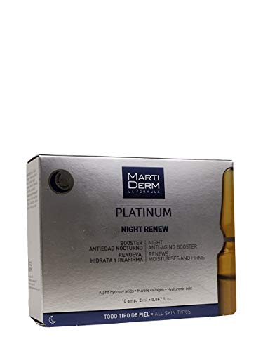 Martiderm, Platinum Night Renew, 10 Ampollas, Empaque puede variar