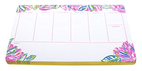 Lilly Pulitzer Undated Weekly Planner Desk Pad, Notepad Includes 52 Sheets for 1 Year of Planning, Totally Blossom