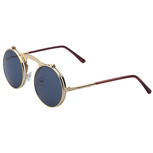 Botetrade Metall Weinlese Kreis Sonnenbrille Herren Flip Up Steampunk Runde Glas Damen Schutz Brillen C4