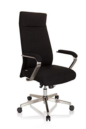 hjh OFFICE 750031 Profi Chefsessel SARANTA PRO Stoff Schwarz moderner Bürostuhl mit Kissen, Kopfstütze neigbar