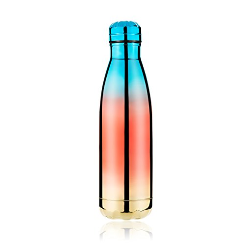 Frola Reusable Stainless Steel Water Bottle,Double Wall Vacuum Insulated, Ecofriendly for Hot or Cold Drinks, 17 Ounce/500 mL, Best Gift for Outdoor Sports Travel (Rainbow Purple)