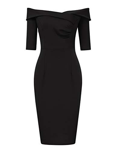 Clearlove Damen 50s Vintage Rockabilly Kleid Off Shoulder Cocktailkleid Knielang Bleistift Kleid (Verpackung MEHRWEG)(Schwarz a, M)