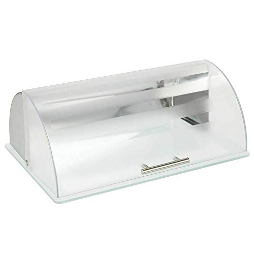 LCSA Metal Kitchen Countertop Bread Box, Roll Top Lid, Glass Base - Brushed