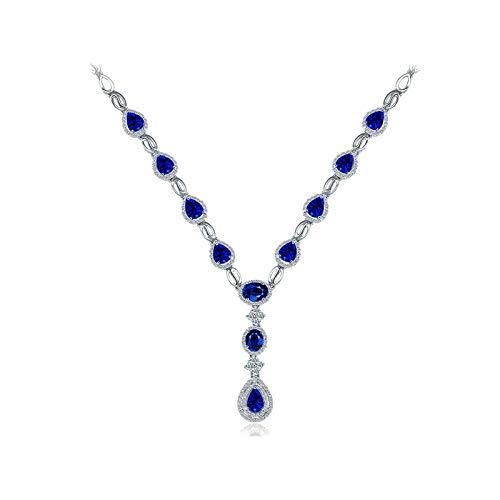 Bishilin Collares Oro Blanco 750 Collar Boda 18K Clásico Collar Colgante Azul Zafiro Diamante Joyería Collar de Mujeres Ajuste Cómodo Pera Trébol Regalos para Navidad Aniversario Oro Blanco