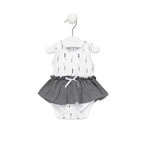 TOUS BABY - Body sin mangas con falda,efecto vestido para tu Bebé. Estampado Luminary (Blanco, 0-1 Mes)