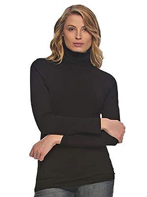 Felina   Long Sleeve Cotton Modal Turtleneck   Base Layer (Black, X-Large)