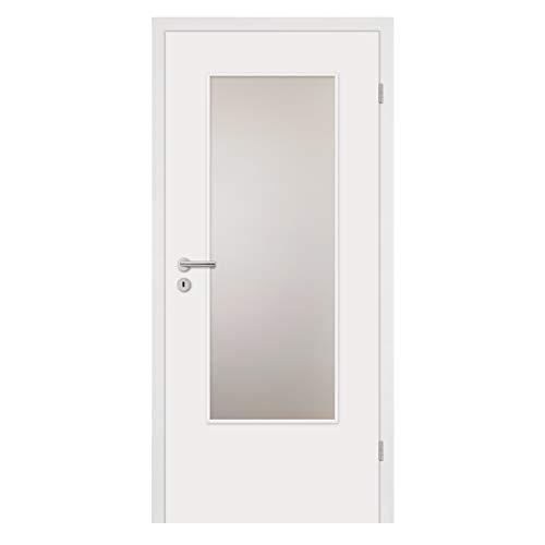HORI® Zimmertür Komplettset mit Lichtausschnitt I Weißlack Innentür mit Zarge I Modell Basic I Türbreite 735 mm I Wandstärke 140 mm