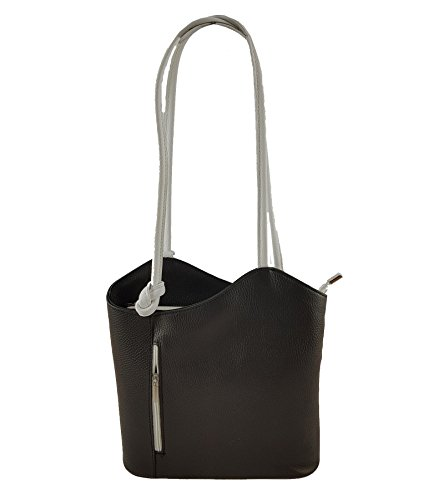 Freyday 2 in 1 Handtasche Rucksack Henkeltasche aus Echtleder in versch. Designs HR03 (Glattleder Schwarz-Grau)