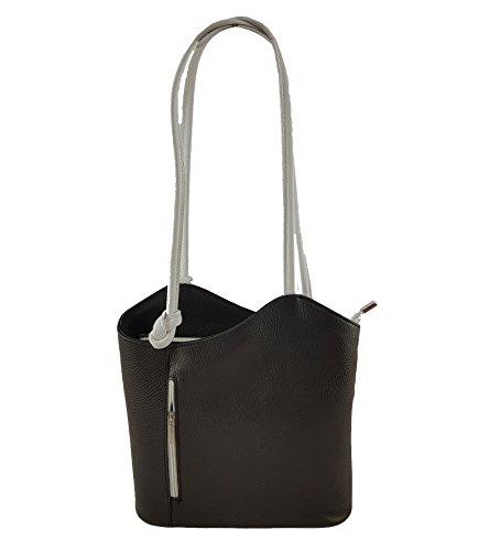 Freyday 2 in 1 Handtasche Rucksack Henkeltasche aus Echtleder in versch. Designs (Glattleder Schwarz-Grau)