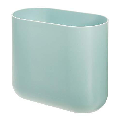 Price comparison product image iDesign 29374 Compact Bathroom Bin,  Slim Plastic Bin for Bathroom,  Bedroom or Office Waste,  Durable Bin with Sleek and Elegant Design,  Light Blue 26.8 cm x 14 cm x 24.8 cm