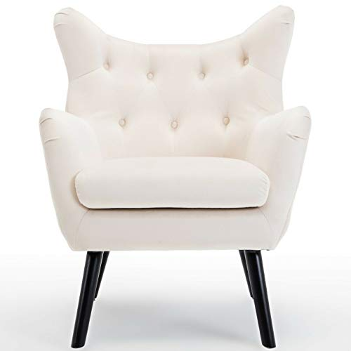 Wingback Club Chair Elegant Armrest Fabric Living Room Tufted Seat Accent (Color : White)