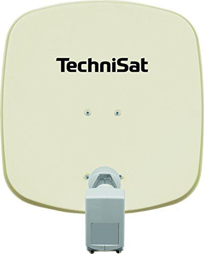TechniSat DIGIDISH 45 – Satelliten-Schüssel für 2 Teilnehmer (45 cm kleine Sat Anlage - Komplettset mit Wandhalterung und Universal Twin-LNB) beige
