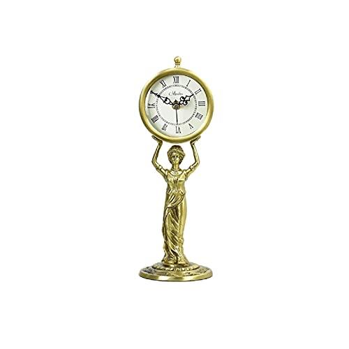 XBYUNDING Manta Reloj Metal Metal Pure Cobre Manto Reloj de Escritorio Antiguo Relojes Cocina Cocina Decorativo Mute Room Adornos Diseño Creativo Regalos,Escritorio Relojes,Desempolecte Powered 30*10c