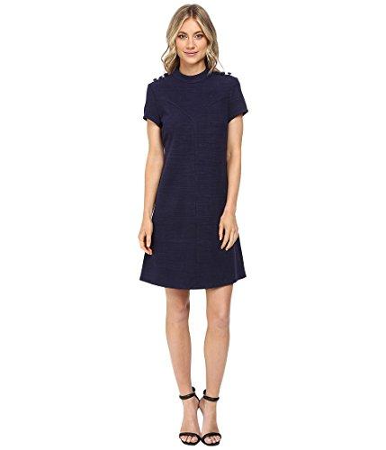 Donna Morgan Damen Strickkleid mit hohem Kragen und Knöpfen - Blau - 38