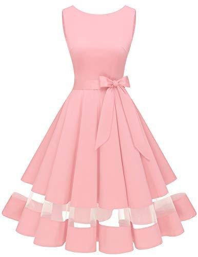 bridesmay 50s Retro Vintage Rockabilly Kleid Knielang Partykleider Cocktailkleid Abendkleider Pink L