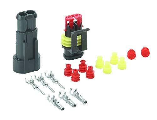 HELLA 8KW 744 806-801 SUPERSEAL-Steckverbindungen,Set, B 04, je 3 Stiftkontakte 1,0 – 1,5 mm², Buchsenkontakte 1,0 – 1,5 mm², je 4 Einzelleiterdichtungen, 2 Blindstopfen, 2-polig, 18 Stück