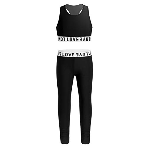 ACSUSS Big Girls Two Pieces Athletic Dance Sports Outfts Active Set Racerback Crop Tank Tops with Leggings Dancewear Black 8