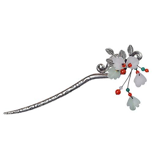 TOYANDONA Retro Haarnadel Vintage Blumen Haarstab Rot Grün Strass Perlen Stein Hairpin Dekorative Haarspangen Strass-Haarstock Brauthaarspange für Damen Mädchen