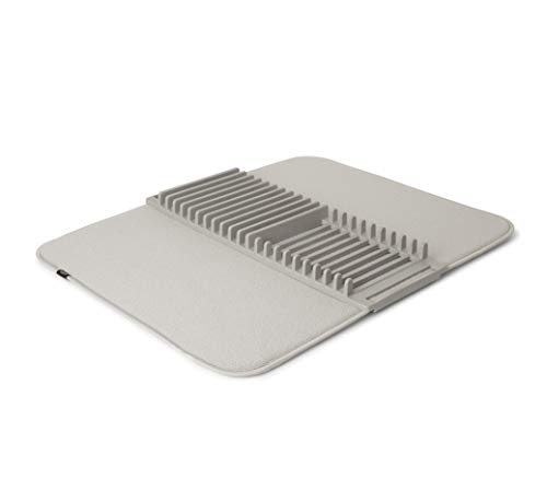 Umbra UDRY Rack and Microfiber Dish Drying Mat-Space-Saving Lightweight Design Folds Up for Easy Storage, 24 x 18 inches, Light Grey, 18/8 Stainless Steel
