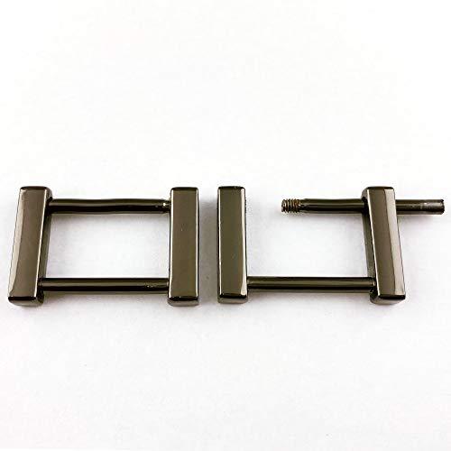 【KAMONレザー】角カン ネジ式 内径20�o ブラックニッケル 2個セット クラフトパーツ 手芸 金具 修理 交換