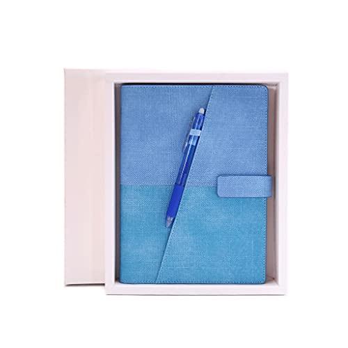 Cuaderno clásico Libro de aglutinante de Bloc de encuadernador Bandería erasable repetible Libro de Diario Ambiental para Hombres/Mujeres, 50 Hojas 23.3X 17cm (Color : Light Blue+Gift Box)