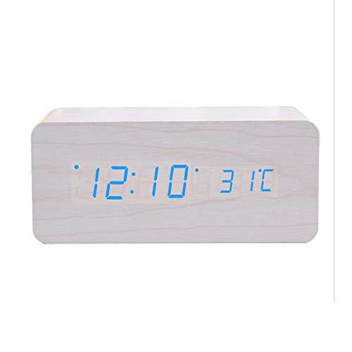 Rabbfay Multifunción Inalámbrico Cargador con Alarma Reloj y La Temperatura Monitor, 4 en 1 Cargando Estación Muelle Compatible por iWatch y iPhone 11 / XS/XR/X / 8,Blanco
