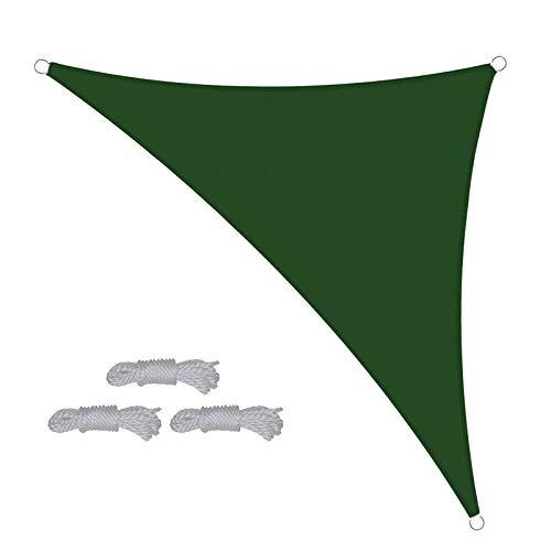 AILILI Dreieck Sonnensegel,Regenfest,für Pergola, Backyard Outdoor,tarp Wasserdicht,Übergroß,seilspannmarkise,Bleib Ruhig,Starke Kühlfähigkeit,Sonnensegelpfosten (Color : Dark Green, Size : 5x5x7m)