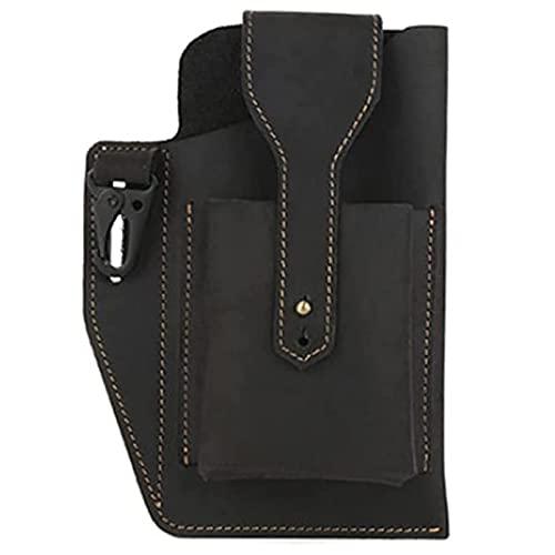 XUNN Retro Belt Waist Men's Bag Leather Belt Pouch Waist Bag Fanny Pack with Key Holder Wearable Phone Multitool Sheath (Black)