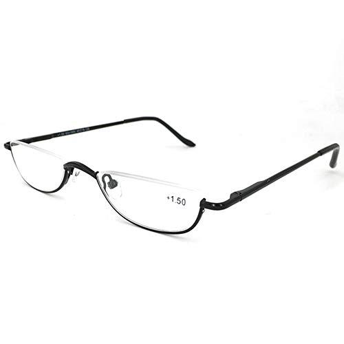 Reading glasses Halber Rahmen Lesebrille, Hälfte Mond Lesegerät für Männer und Frauen +1.25 Schwarz