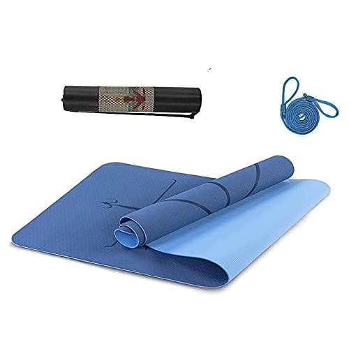 Esterilla Deporte Antideslizante con Material ecológico TPE,Yoga Mat diseñado para Entrenamiento físico con Correa de Transporte y Bolsa con Línea de Posición Corporal,183cmx61cmx0.6cm(Azul marino)